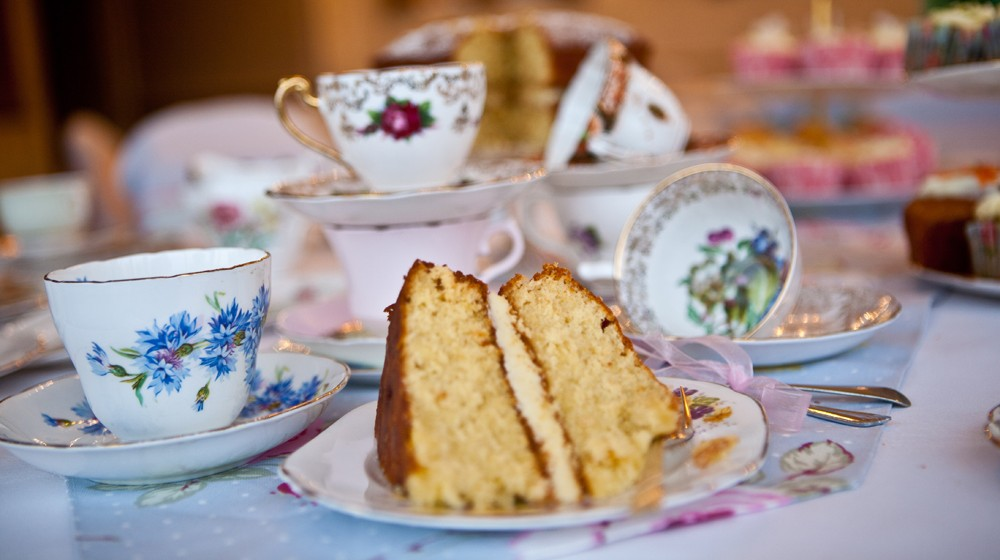 Time for tea Vintage Crockery for Hire cake on a plate.